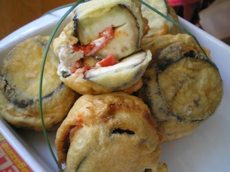Beignets d'aubergine au chorizo
