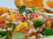 Salade pâtes l'orange truite fumée
