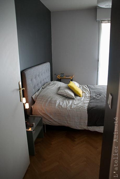 Une chambre moderne en gris et jaune relooking paperblog for Chambre jaune et gris