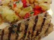 Maquereaux grillés écrasé pommes terre légumes