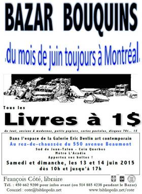 Bazar bouquin de François Côté (13 et 14 juin 2015)
