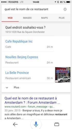 Bluffant, Google géolocalise et contextualise vos recherches vocales