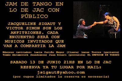 Nouvelle Jam Sesión de Tango chez Jacqueline Sigaut [à l'affiche]