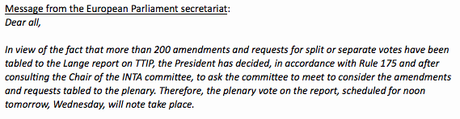 Extrait du mail du secrétariat général du parlement européen envoyé mardi soir.
