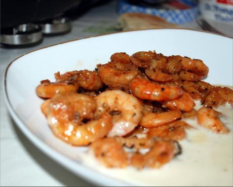 Crevettes marinée à la sauce soja au barbecue