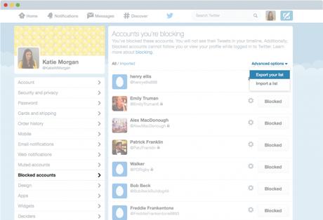 Un aperçu de l'exportation de la liste des comptes bloqués sur Twitter (Image : Twitter).