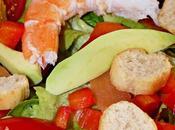 Salade ccrevettes, saumon, avocat
