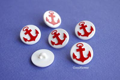 Bouton vintage nautique ancre marine rouge - www.cocoflower.net