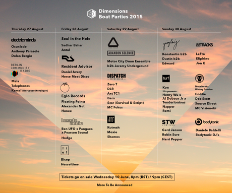 Dimensions Festival 2015 - updated boat parties - flyer