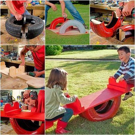 Comment r utiliser un vieux pneu pour bricoler une balan oire paperblog - Decoration jardin avec des pneus ...