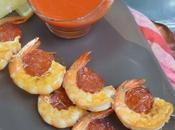 Brochettes crevettes chorizo plancha gaspacho