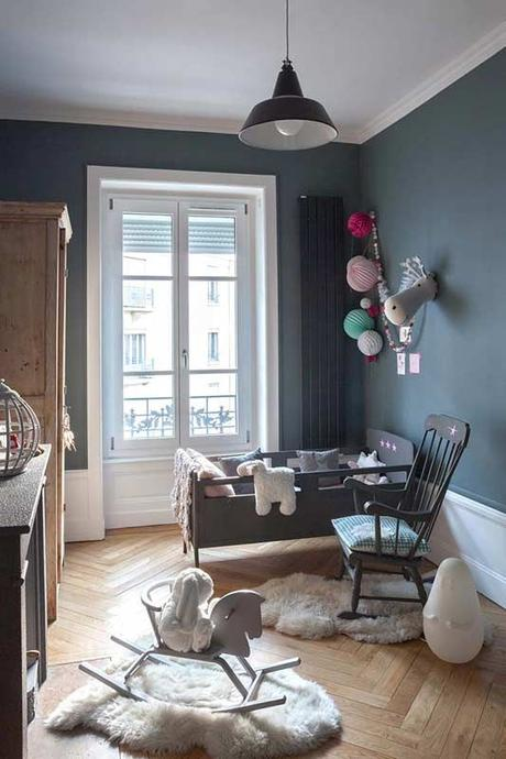 Chambre b b mixte gris bleu voir for Chambre bebe bleu gris