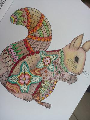 coloriage anti stress ecureuil