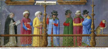 Turba philosophorum - miniature de Girolamo de Crémone in Aristotelis Opera - Venise 1483