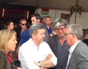Jean-Luc Mélenchon et Pierre Laurent, sur le stand du PG à la fête de l'Huma (avec Danielle Simonnet et Eric Coquerel)