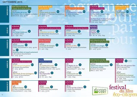 Festival du film éco-citoyen Ecran Vert du 23 au 27  septembre