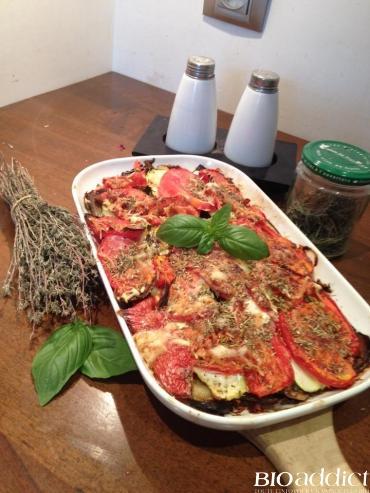 Gratin d'aubergines, courgettes et tomates bio
