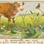 illustration de la grenouille qui veut se faire aussi grosse que le boeuf