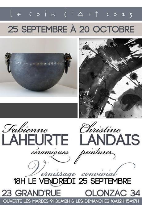 Exposition Fabienne Laheurte et Christine Landais au Coin d'Art – Olonzac