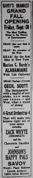 September 20, 1929: battle of bands Alabamians vs Cecil Scott at the Savoy Ballroom