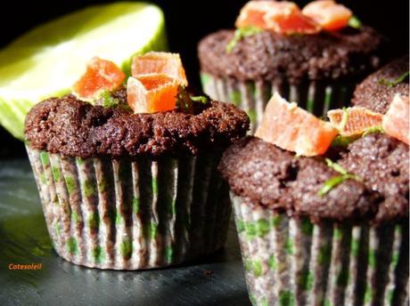 Muffins chocolat & papaye confite