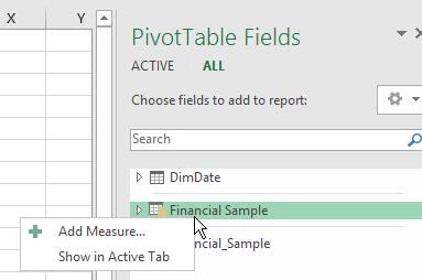 Mesure DAX Excel 2016 1