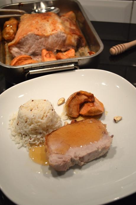 Rôti de porc aux pommes et au miel