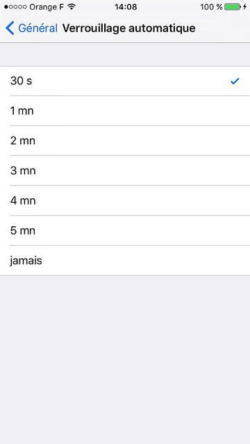 iOS 9: Un temps de verrouillage automatique qui passe à 30 secondes