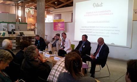 L'animateur du débat et les quatre candidats:  José Manuel Boudey, Françoise Coutant, Yves d'Amecourt, Alain Rousset