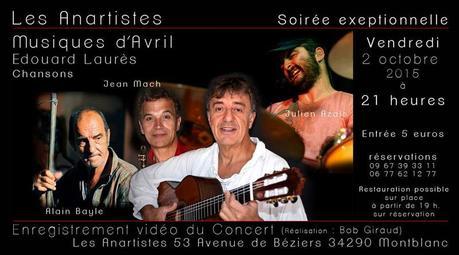Concert d'Edouard Laurès aux Anartistes le vendredi 2 octobre