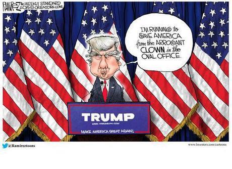 Je me présente pour sauver l'Amérique du clown arrogant de la maison ovale.