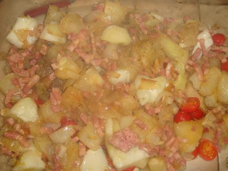 Gratin de patisson aux tomates cerises, jambon cru et mozzarella