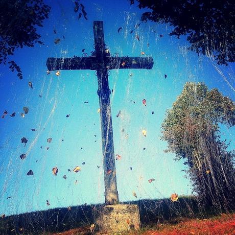 Calvaire, croix, ciel, membrane, ligne, feuilles, bleu, ridha dhib, Jumel, Picardie, journées européennes du patrimoine, christ, paysage, campagne, croix de chemin,