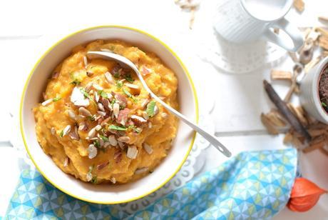 Purée de patate douce, coco, amandes et tournesol torréfiés