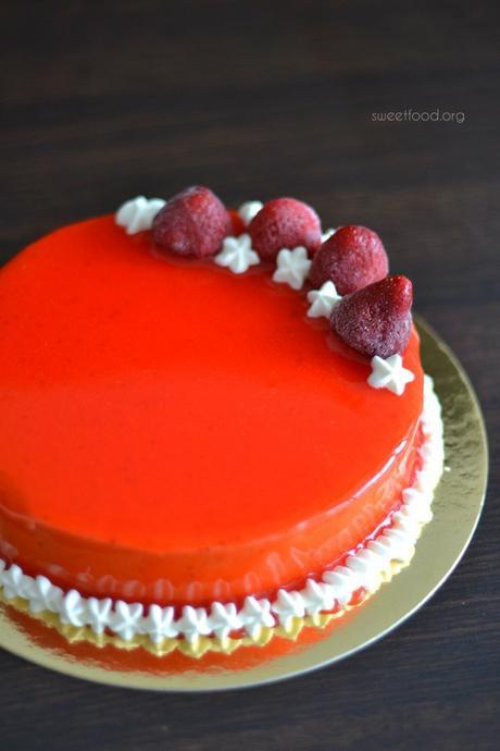 Entremet miroir au fraise lire for Glacage miroir fraise