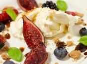Burratina, figues rôties, crumble l'huile d'olive, balsamique