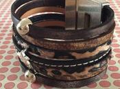 Bracelet manchette cuir léopard