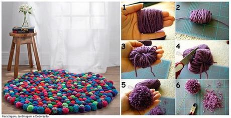 voici comment faire un joli tapis en pompons d couvrir. Black Bedroom Furniture Sets. Home Design Ideas