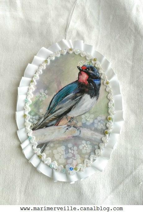 Oiseau médaillon printanier 1 marimerveille