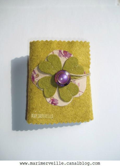 Couverture carnet couture Marimerveille aux roses Duo Vert prune