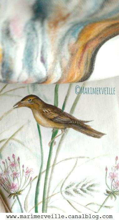 conte textile, oiseau chantant marimerveille
