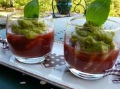 Verrine gazpacho guacamole crevettes