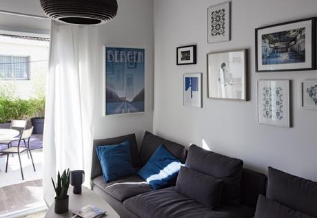 D co notre salon gris bleu bois paperblog for Salon en bleu et gris