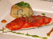 Filet daurade rôti écailles chorizo flan légumes méditerranéens