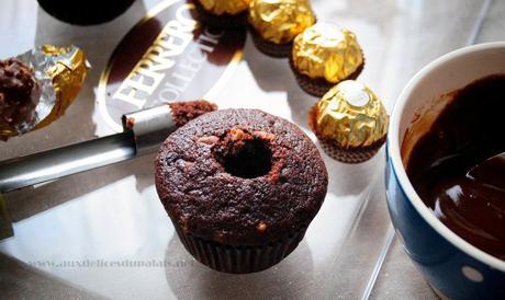 Cupcakes au chocolat & au Ferrero rocher