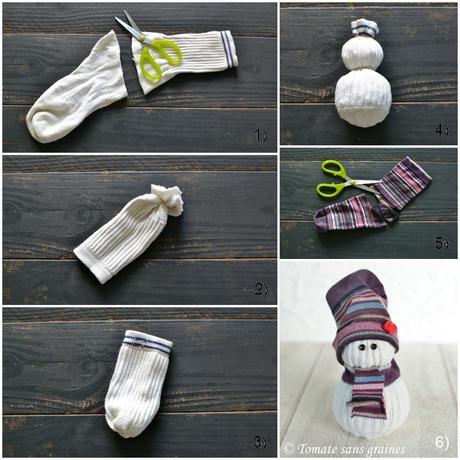 diy de no l le bonhomme de neige en chaussette paperblog. Black Bedroom Furniture Sets. Home Design Ideas