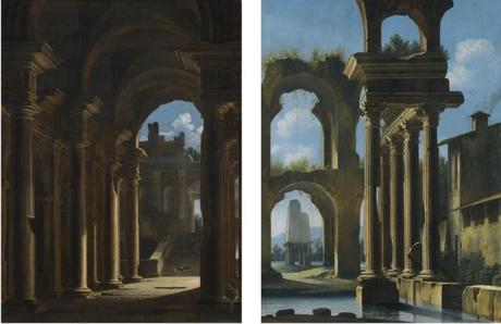 codazzi-fin-xvii-a-capriccio-of-the-inside-of-a-temple-with-ruins-beyond-a-lacustrine-landscape-with-classical-ruins