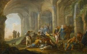 hubert-robert-1754-60-roman-figures-under-an-arcade