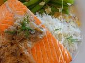 ~Filet saumon, sauce champignons, blanc aneth~