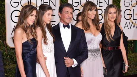 Mandatory Credit: Photo by David Fisher/REX/Shutterstock (5528305il) Sylvester Stallone wife Jennifer Flavin and daughters Sistine, Sophia and Scarlet 73rd Annual Golden Globe Awards, Arrivals, Los Angeles, America - 10 Jan 2016